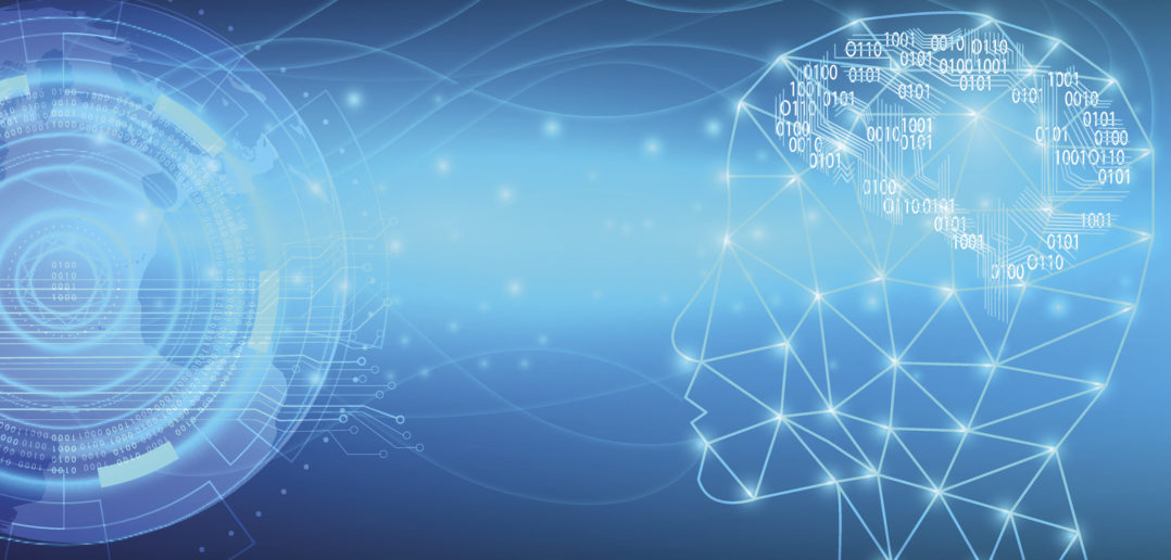 Artificial Intelligence with futuristic of world communication.