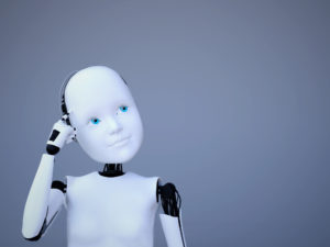 3D rendering of a robot child thinking © sarah5/GettyImages