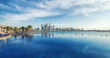 Panorama of Dubai Marina Skyline. United Arab Emirates